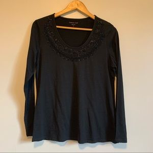 Coldwater creek black pull over blouse with sequin detail on neckline size L